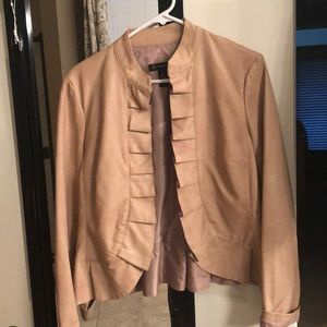 Blush colored faux leather jacket